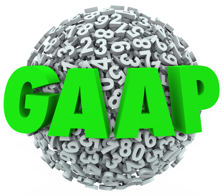 abbreviation: GAAP acronym or abbreviation letters on 3d ball or sphere of numbers to illustrate generally accepted accounting principles
