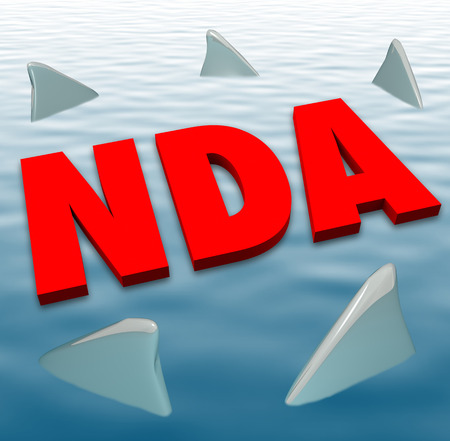 violating: NDA acronym in red 3d letters on water surrounded by circling sharks to illustrate danger of breaking or violating a non-disclosure agreement
