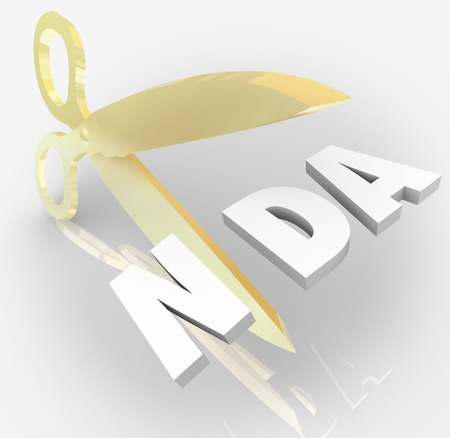 violated: NDA Non-Disclosure Agreement 3d letters in an acronym  cut by scissors to illustrate violation or breaking contract or restriction on sharing trade secrets