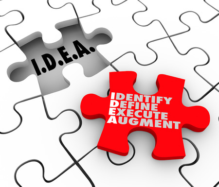 defining: Idea acronym meaning Identify Define Execute Agument words on a puzzle piece for diagnosing and solving a problem or issue to improve a situation in business, life or career