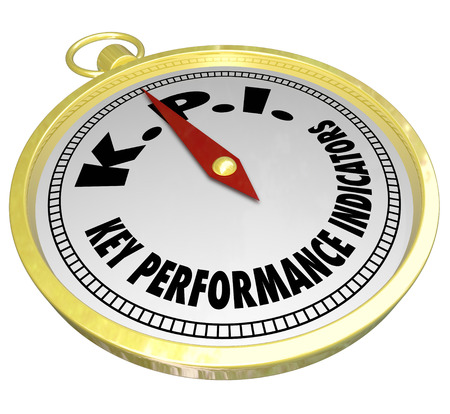 output: Key Performance Indicator words and acronym KPI on a golden compass to illustrate measurement metrics for finding production, producitivity success in output and results
