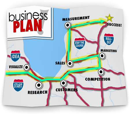 Business Plan words on a road map directing you to success for a startup company, with directions leading you to visualize, research, customers, competition, marketing, sales and measurement