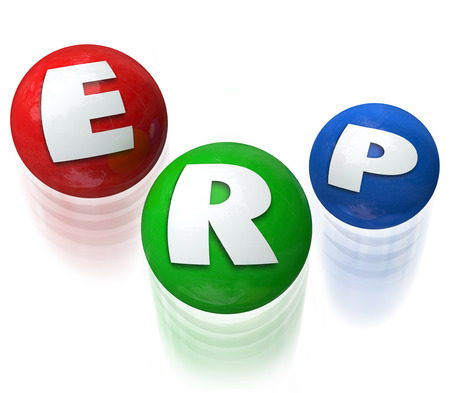 ERP letters on three balls being juggled to illustrate Enterprise Resource Planning software or application for managing many elements of your business or company photo