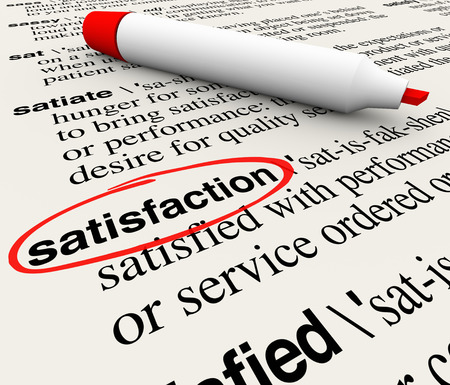 appreciation: Satisfaction word circled in a dictionary definition page to illustrate gratification, pleasure, joy and customer happiness from a product or service meeting needs