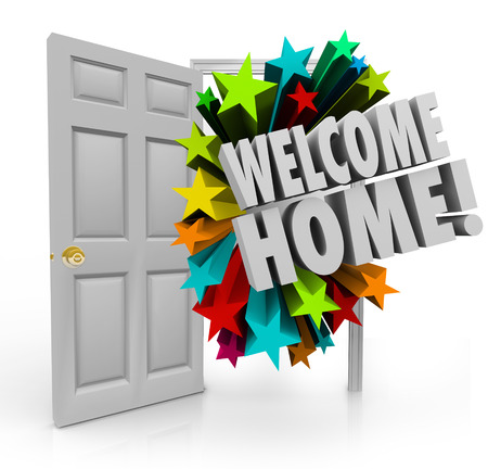 Welcome Home message in 3d words out an open door as a greeting or celebration for your return or homecoming Banco de Imagens