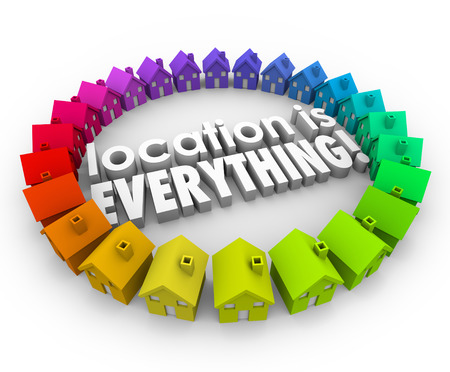 Location is Everything 3d words surrounded by colored houses or homes in best real estate community or neighborhoods photo