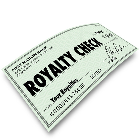 honorarium: Royalty Check words on paper money issued for interest, percentage, share, income, revenue or earnings as commission