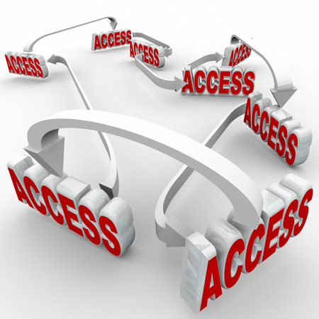 permission granted: Access word in red 3d letters connected by arrows to illustrate allowed permission or entry in membership or organization network