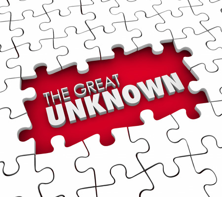 great idea: The Great Unknown 3d words in a puzzle piece hole or gap representing missing information, knowledge or guidance for a job or task Stock Photo