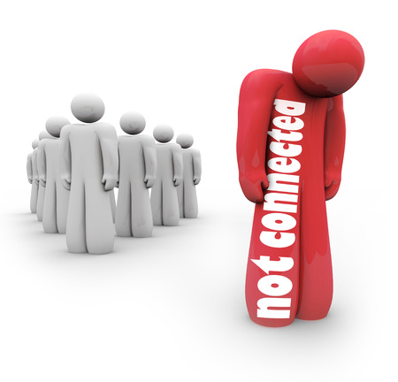 lacking: Not Connected words on a red 3d person standing apart or alone from the crowd, a failure at building connections, links and relationships with peers Stock Photo