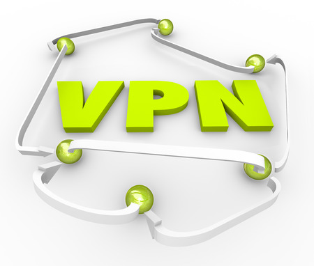 private server: VPN 3d letters surrounded by linked connections on a server, intranet, or internet to create a virtual private network