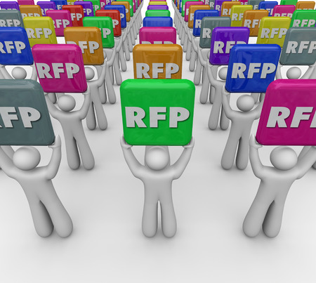 RFP people or customers holding tiles as Requests for Proposal from your company or business such as pricing or costs for products or services