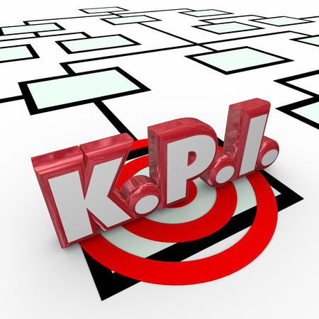 metrics: KPI abbreviation or acronym in red 3d letters on an organizaiton chart to symbolize worker, employee or staff key performance indicators, evaluation or review Stock Photo