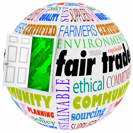 equitable: Fair Trade open door policy words on a globe or planet earth to illustrate international business performed by global or multi-national corporations