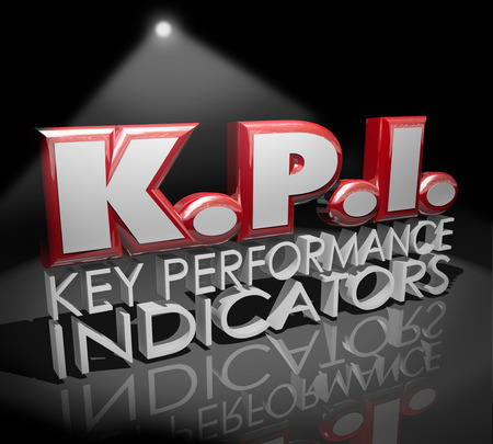 indicators: KPI letters abbreviation in red 3d word under a spotlight to illustrate measurement, evaluation or review of work or productivity