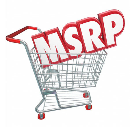 retailing: MSRP 3d red letters abbreviation in a shopping cart to illustrate manufacturers suggested retail price for a product or service at a store