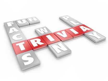 Trivia letter word tiles in a game or competition testing your knowledge of pop culture and win the prize Stock Photo