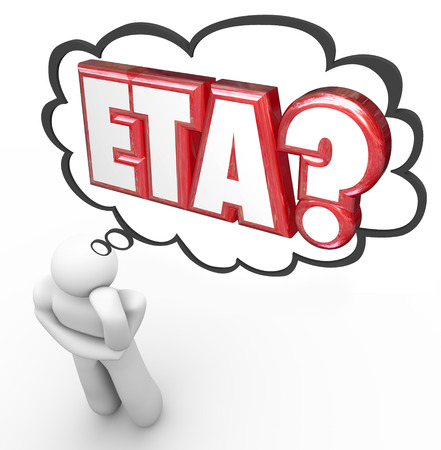 anticipating: ETA words in thought cloud over man or person thinking of estimated time of arrival for a travel destination or package delivery Stock Photo