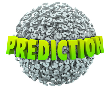 probable: Prediction words in 3d letters on a ball or sphere of question marks to illustrate guessing the future, fate, destiny or outcome