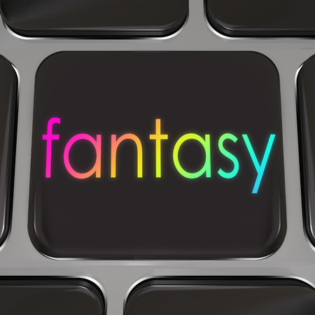 Fantasy word on a black computer keyboard key or button to illustrate a dream coming true on the internet, website or online destination