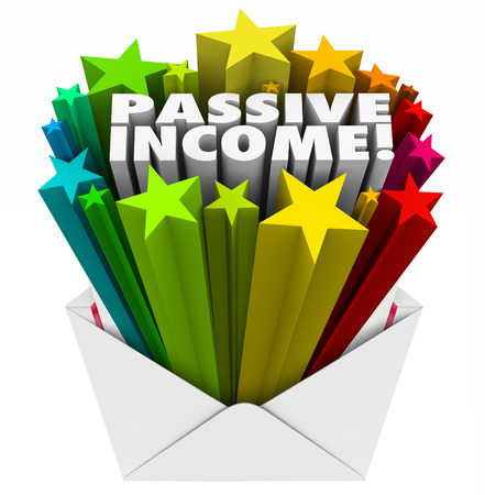 passive income: Passive Income word and 3d stars in an open envelope to illustrate easy money sent to you as pay, earnings, wages or salary Stock Photo