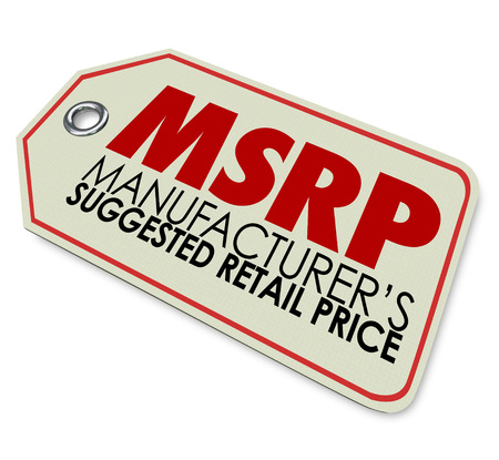 suggested: MSRP acronym or abbreviation on a store price stag to illustrate a product whose cost is the manufacturers suggested retail price