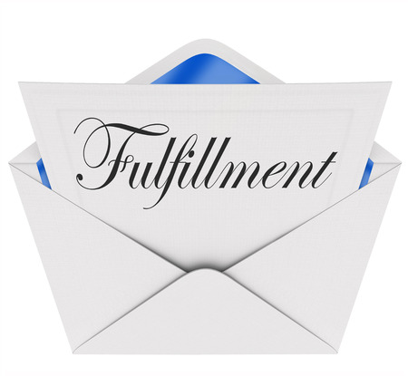 gratified: Fulfillment word on a note or message inside an open envelope to illustrate satisfaction and gratification in communication