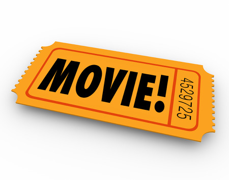 narration: Movie word on a pass or ticket for admission to a special screening of a film at a cinema or theater