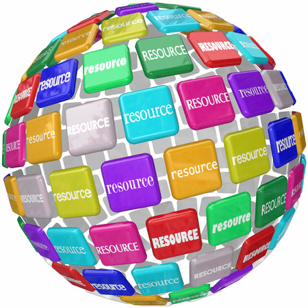 Resource word on tiles in a globe or sphere to illustrate access to skills, knowledge and information in a library or database collection needed for a job or task photo