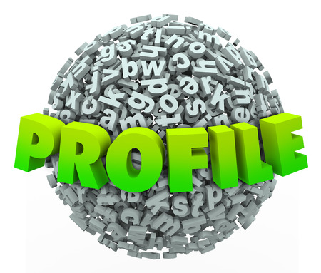 Profile word in 3d letters on a ball or sphere illustrating the need to enter your personal information, update or details on a network or information database