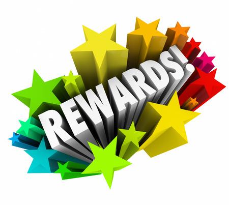 rewarded: Rewards palabra en estrellas de colores que ilustra una recompensa, bonificaci�n, premio, coacciones o incentivo para el buen desempe�o o para alentar la compra o cualquier otro comportamiento