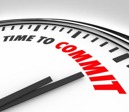 pacto: Tiempo para cometer palabras de un reloj 3d para ilustrar un voto, promesa o determinaci�n de ser fiel a otra persona en una relaci�n o su trabajo, el trabajo o el empleador