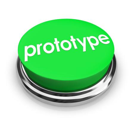 prototipo: Prototipo palabra en un botón verde 3d para presionar y conseguir un instante maqueta o concepto producto de muestra para la prueba e inventando