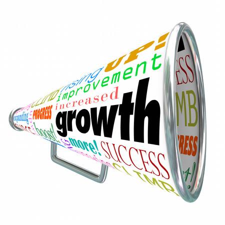 boosting: Growth words on a bullhorn or megaphone