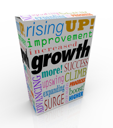 boosting: Growth words on product package or box including improved, increase, advancing, more, expanding, surge and upswing Stock Photo