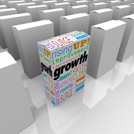 成長と関連する単語のような増加、改善の上昇と競争力や利点と 1 つの選択肢を説明するために 1 つの製品ボックスに拡大