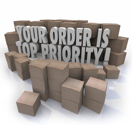 orden de compra: Su pedido es la máxima prioridad palabras 3d rodeado de cajas de cartón en un almacén, los productos que van a ser enviados a usted en el cumplimiento
