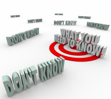 教育とトレーニングで学習するため必要な重要なまたは必須の情報を図解するターゲットまたは雄牛の目に 3 d の単語を知っている必要があります。