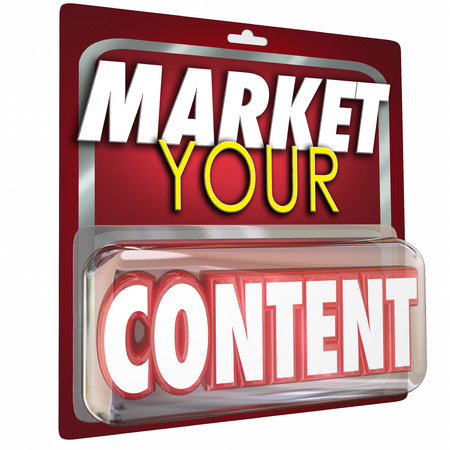 repurpose: Market Your Content 3d Word in package to illustrate selling your information as a product or service to customers with advertising and promotion Stock Photo