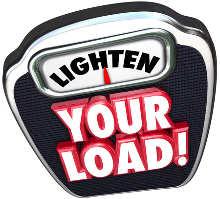 workload: Lighten your load 3d words on a scale encouraging you to reduce your workload by decreasing the number of jobs, tasks or projects that are burdening you Stock Photo