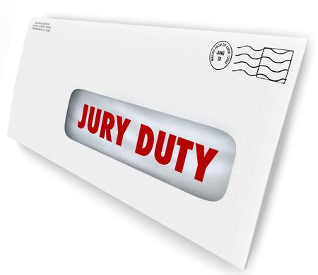 陪審員は召喚する裁判所を判決で提供し、訴訟やケースの法的判断をレンダリングで表示されるように、封筒に手紙に義務の言葉 写真素材