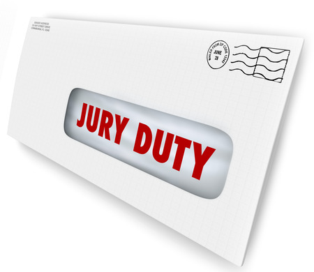 summoning: Jury Duty words on a letter in an envelope summoning you to appear in court to serve in judgment and render a legal judgment in a lawsuit or case Stock Photo