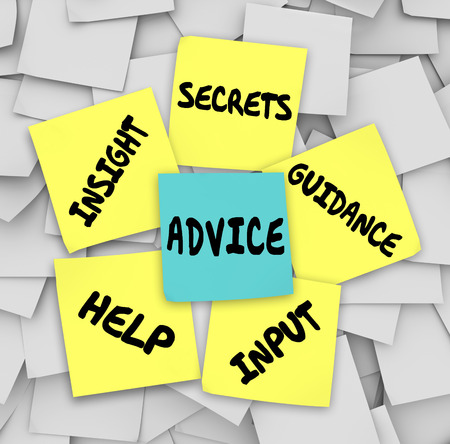 Advice words on sticky notes including insight, secrets, guidance, input and help to give you information on how to solve a challenge photo