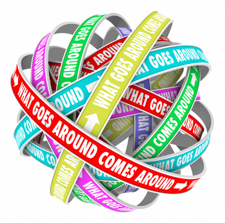 karma: What Goes Around Comes Around saying or quote on colorful ribbons in a cycle or circle to illustrate repeating reaction or cyclical karma and justice
