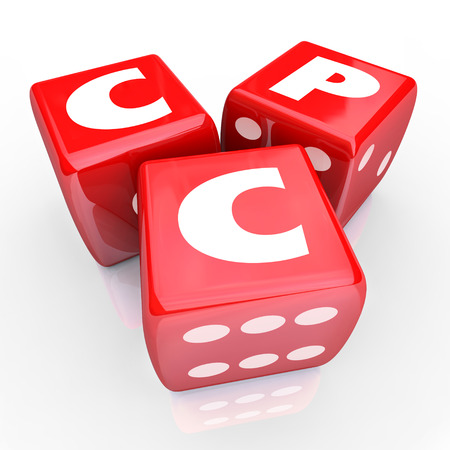 cpc: CPC words in abbreviation or acronym on three red dice to illustrate the risk in spending on targeted online advertising or marketing