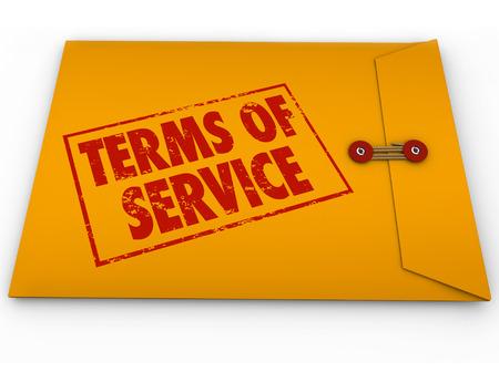 노란색 봉투에 우표에 서비스 단어 약관은 서비스에 가입하거나 소프트웨어를 사용에서 계약, 의무, 계약과 제한 사항을 설명하기 위해