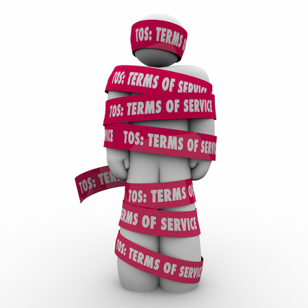 website words: TOS Terms of Service words on red tape wrapped around a person or man as contract restrictions in use of website, software, program or application