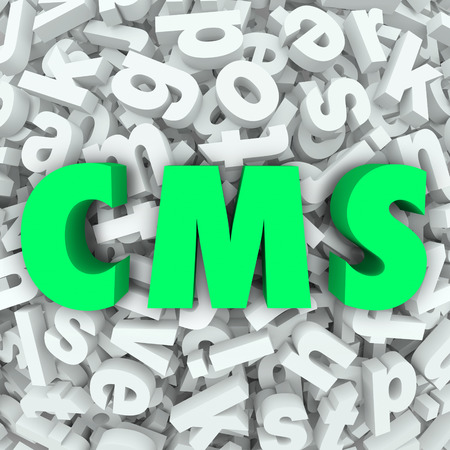 articles: CMS letters in acronym for Content Management System organizing articles, data and information on a website or internet online resource Stock Photo
