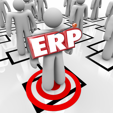 ERP acronym letters on a worker on an org chart to illustrate Enterprise Resource Planning for a company, organization or business photo