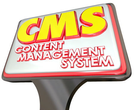 articles: CMS acronym in 3d letters for Conent Management System on a sign advertising an online internet website organization platform for data, articles or information